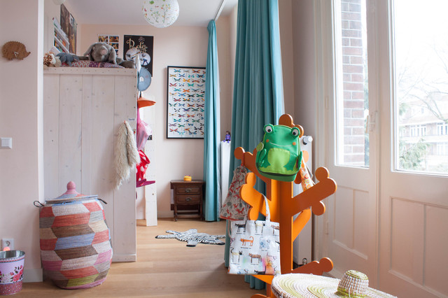 Eclectic Kids Room in Eggshell Pink  Interiors By Color