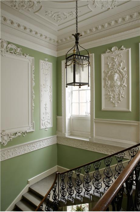 Hall and Stairs in Farrow  Ball Saxon Green and Clunch