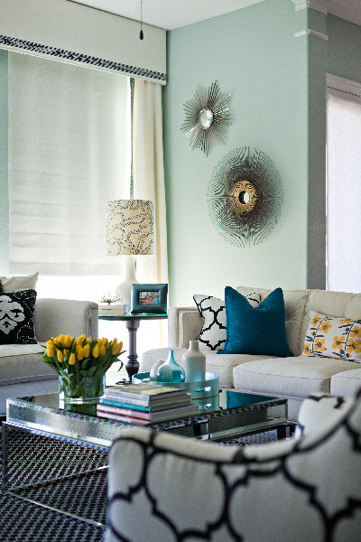 teal accents living room yellow decorating ideas blue walls and interiors by color no comments