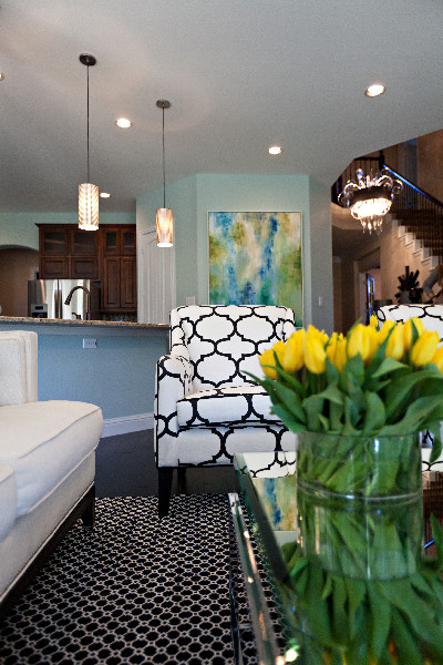 painted kitchen cabinets distressed table blue walls - teal and yellow accents interiors by color