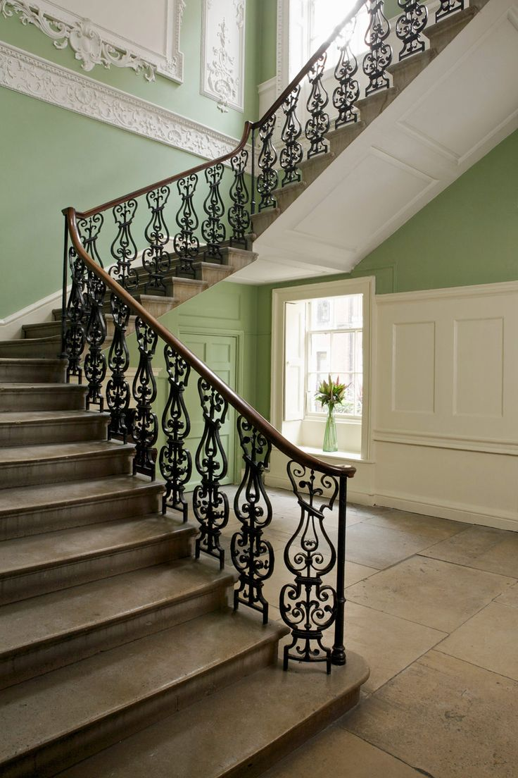 Hall and Stairs in Farrow  Ball Saxon Green and Clunch  Interiors By Color