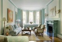 Pale Blue Living Room in a Boston Brownstone - Interiors ...