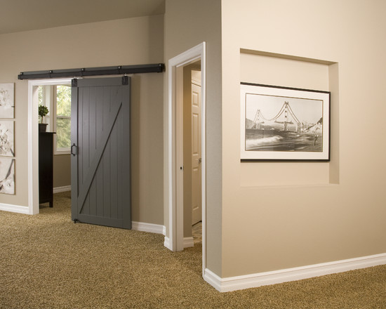 Sliding Barn door in Gray to the Bedroom  Interiors By Color