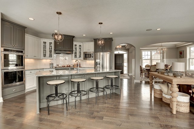 large kitchen island with seating and storage tile for wall transitional gray white - interiors by color