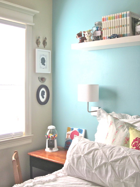 Girls bedroom with Light Blue Feature Wall  Interiors By