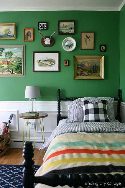 Vintage Styled Boys Room in Green  Interiors By Color
