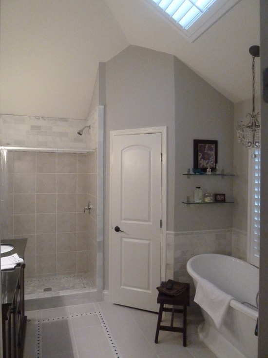 Master Bath Remodel in Sherwin Williams Repose Gray  Interiors By Color
