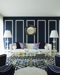Traditional Living Room in Navy Blue and White - Interiors ...
