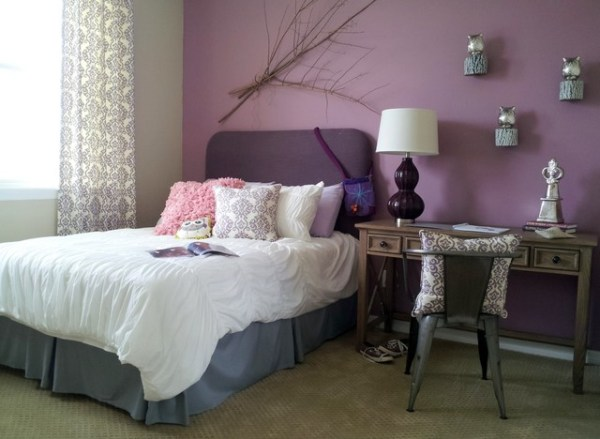 teenage girls bedroom paint color ideas Bedroom in Thistle Purple and Agreeable Gray - Interiors