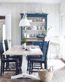 White And Blue Country Dining Room - Interiors Color