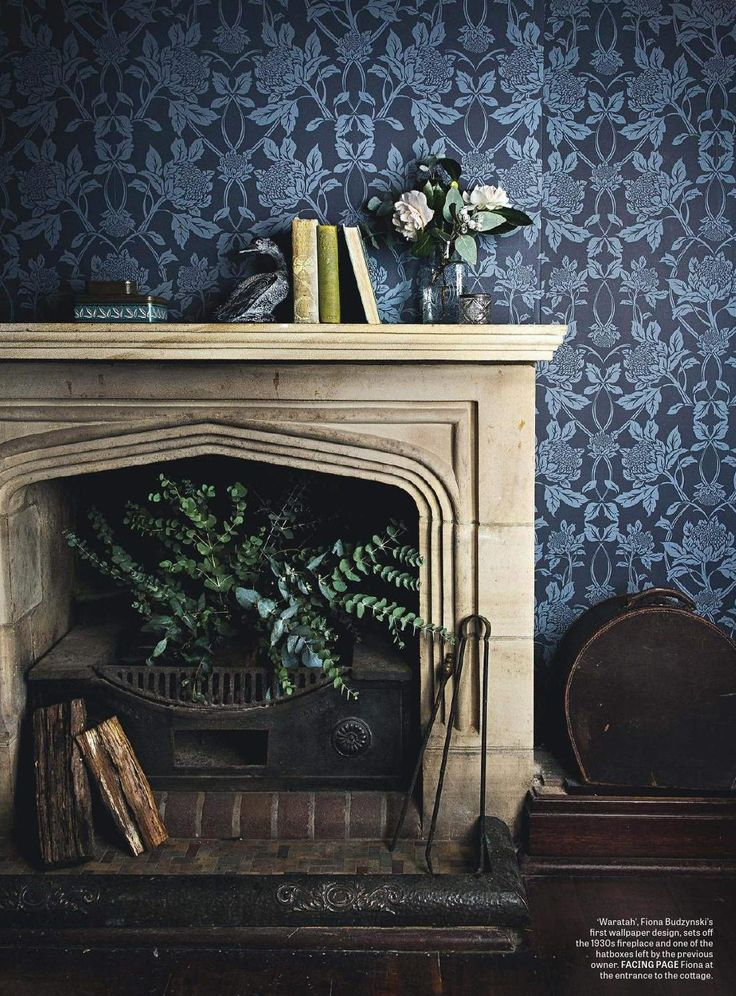1930s fireplace and blue Waratah wallpaper  Interiors By