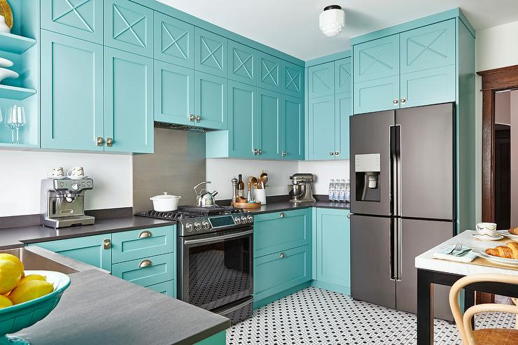 dark blue kitchen cabinets island with storage and seating benjamin moore teal paint colors - interiors by color