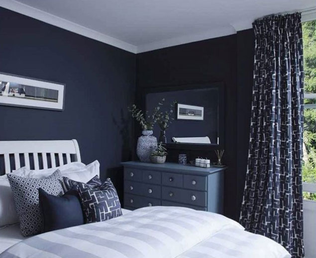 paint ideas for living room feature wall design images benjamin moore hale navy color - interiors by ...