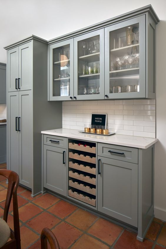 grey kitchen cabinets chef appliances farrow & ball pigeon - interiors by color
