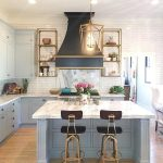 Light Blue Paint Marble And Brass Kitchen Design Interiors By Color