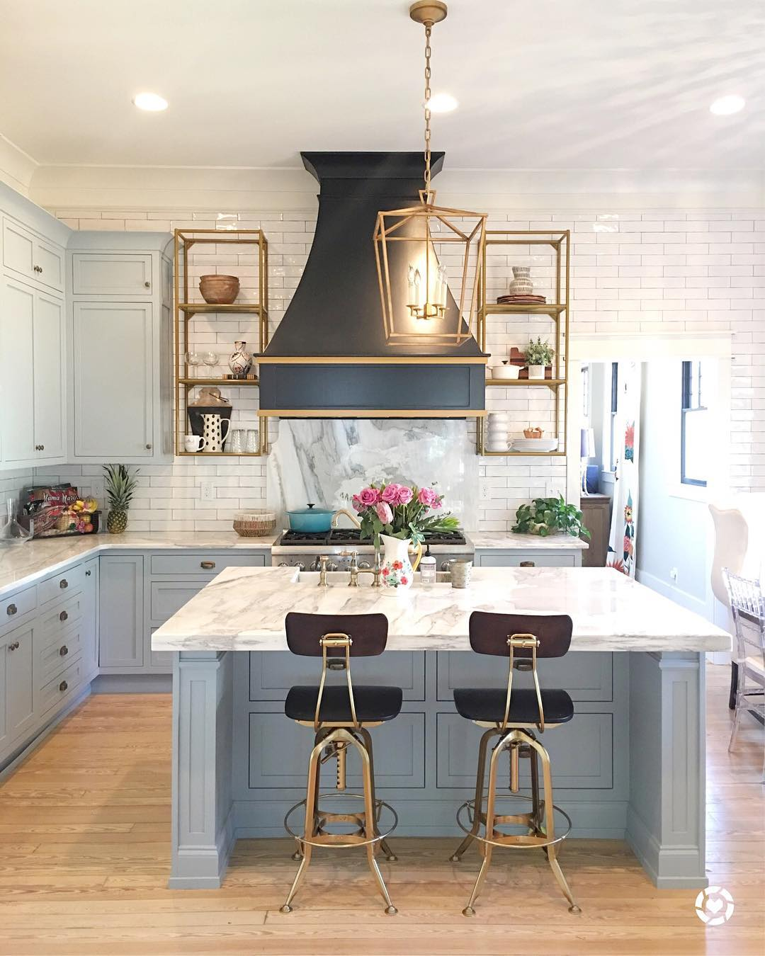 Light Blue Paint Marble And Brass Kitchen Design