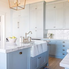 Colors To Paint Kitchen Cabinets Remodeling On A Budget Light Blue Paint, Marble And Brass Design ...