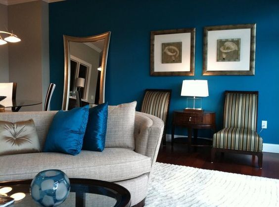 teal accents living room small furniture ideas images benjamin moore caribbean blue water - interiors by color