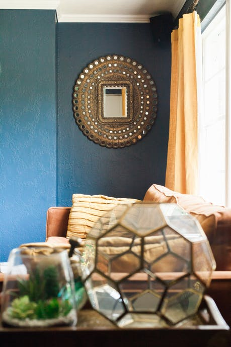 Sherwin Williams Indigo Painted Living Room Interiors By