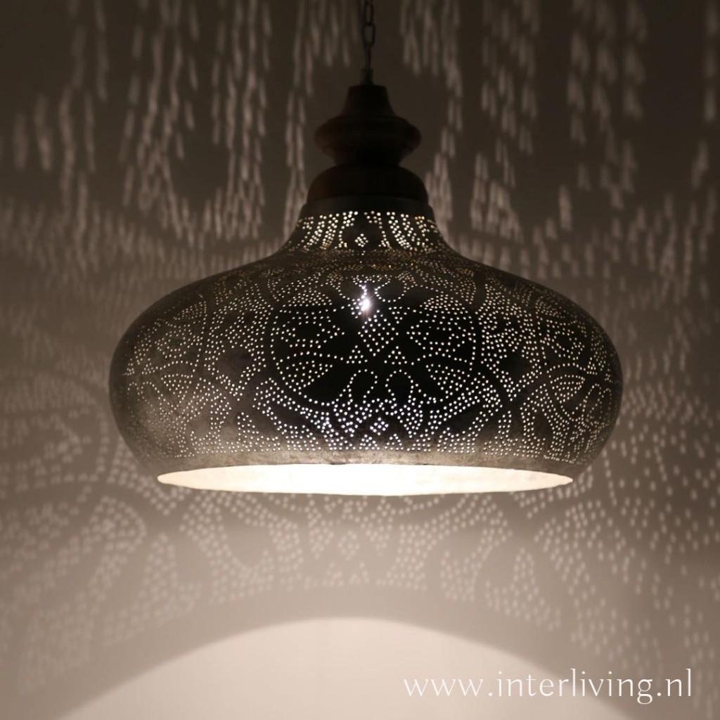 Grote hanglamp voor boven de eettafel  vintage zilver met