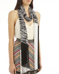 Missoni Black And White Fringe Knit Scarf - INTERMIX