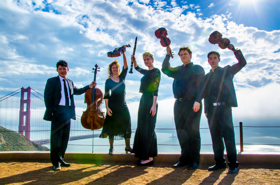 Farallon-Quintet(L-R)Jonah-Kim(Cello)_Elizabeth-Prior(Viola)_Natalie-Parker(Clarinet)_Dan-Flanagan(Violin)_Matthew-Oshida(Violin)_Photo-Norm-Levin