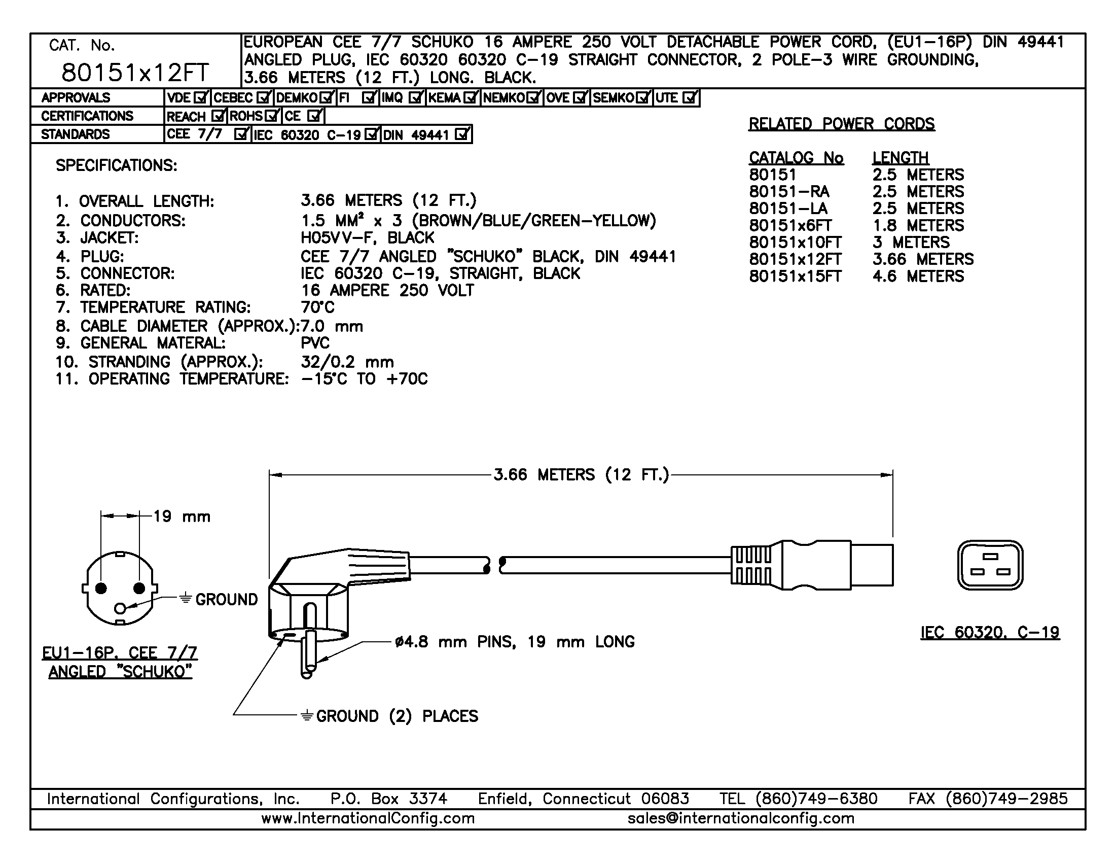 2 pole 3 wire grounding diagram 2007 ford focus radio wiring 80151x12ft straight c 19 connector international cord set