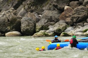 Notice the safety kayaker on hand to assist with any help if needed. Kali Gandakhi river Nepal