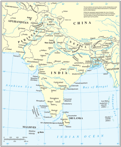 Map of South Asia's shared watercourses