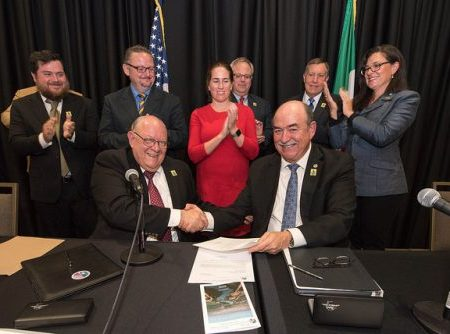 International Boundary and Water Commission Commissioners announce signing of a new Colorado River agreement, Minute 323 on September 27, 2017. Photo by the U.S. Bureau of Reclamation, available at https://www.flickr.com/photos/usbr/23522391918/in/photostream/, and used under a Creative Commons Attribution-ShareAlike 2.0 license.