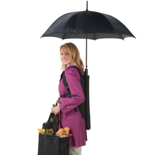 Backpack Umbrella frees your hands for more important things