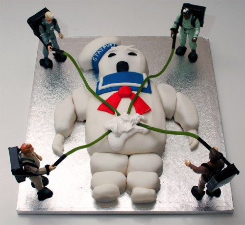 A Ghostbusters Stay Puft Marshmallow Man Cake