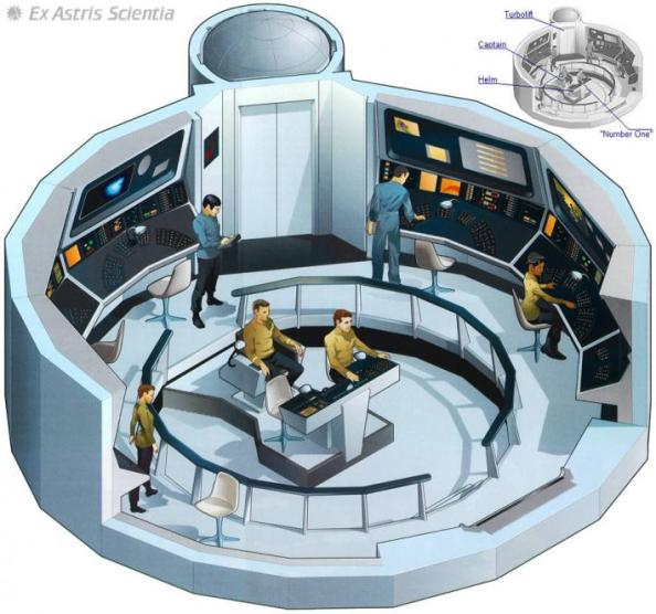 illustrations of Star Trek starship bridges