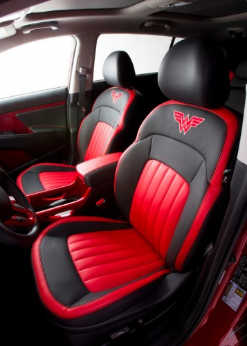 Wonder Woman Kia Sportage front seats 732x1024 357x500 Kia's Wonder Woman Car Is Not Invisible