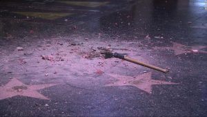 President Trumps Walk of Fame star was smashed to pieces