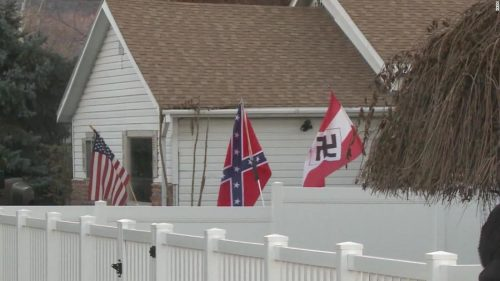 181113162002 flag bearing nazi emblem flying colorado home super tease 500x281 A man flew Nazi and Confederate flags outside his home and dozens of protesters showed up