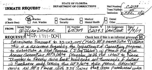 AR 190217135 500x233 Florida prisoners could form class action to demand refund on confiscated media players and files