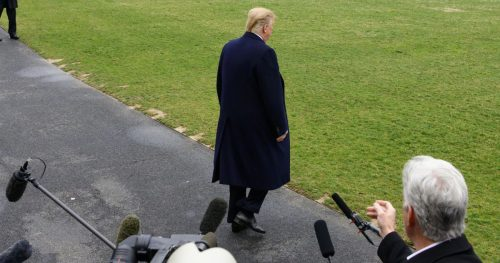 Trump walking away 1 500x263 Trump aided and abetted Russias attack. That was treachery. Full stop.