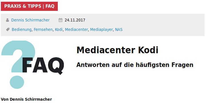 FAQ Mediacenter Kodi c't Magazin