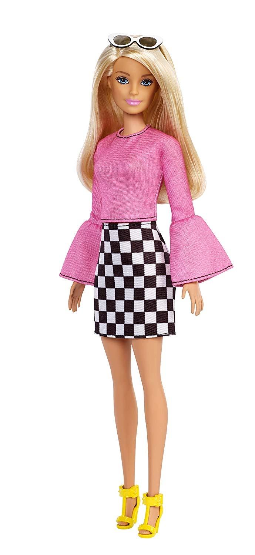 Barbie Fashionistas blond met ruitjesrok 29 cm  Internet