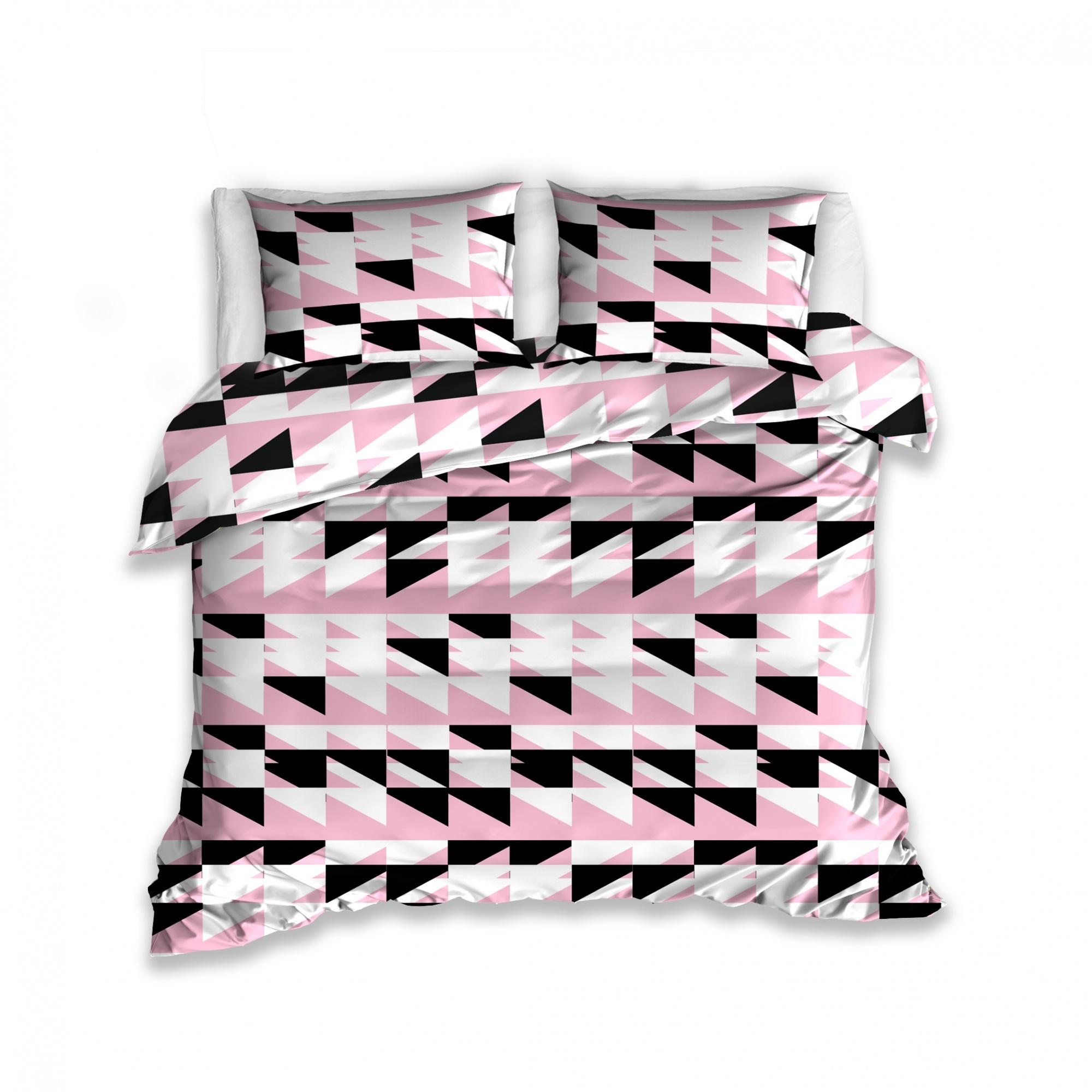 Carbotex Dekbedovertrek driehoek motief roze 160 x 200 cm