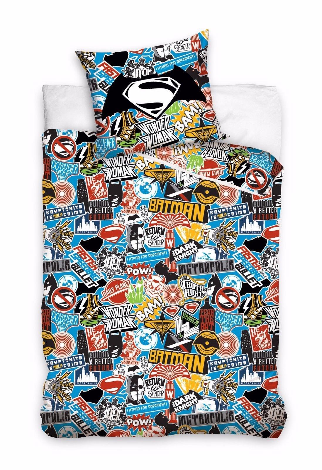 Carbotex Dekbedovertrek superhelden  logos 160 x 200 cm