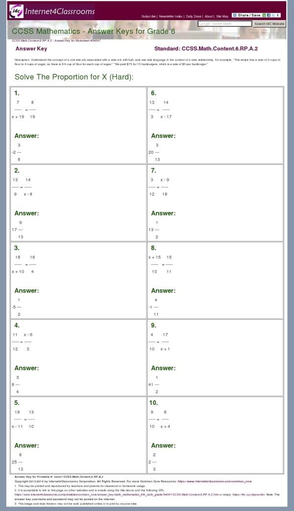 Common Core Math Grade 6 Answer Keys