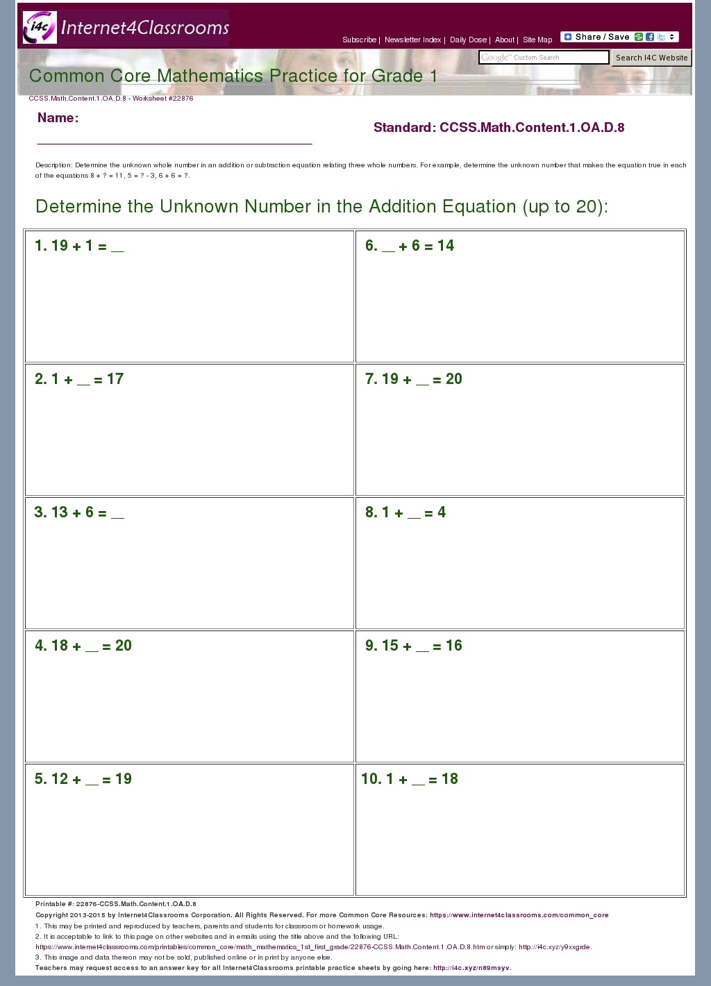 Association Worksheet