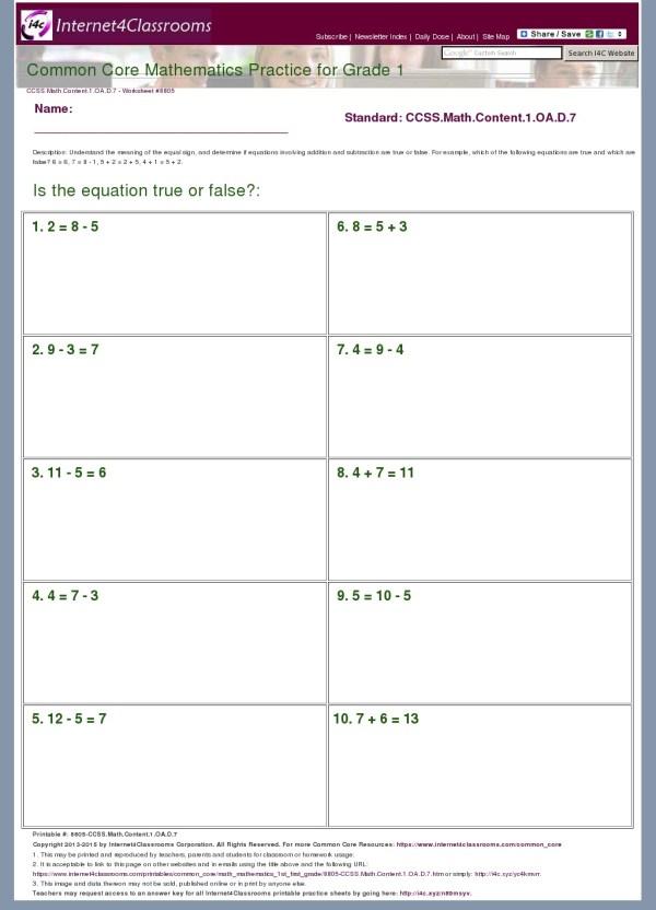Description - Worksheet #8805
