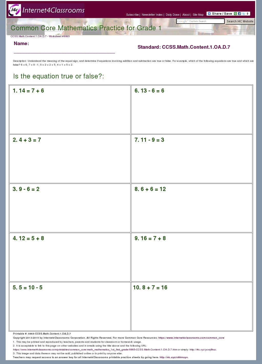 1 0a 7 Common Core Standard Worksheet