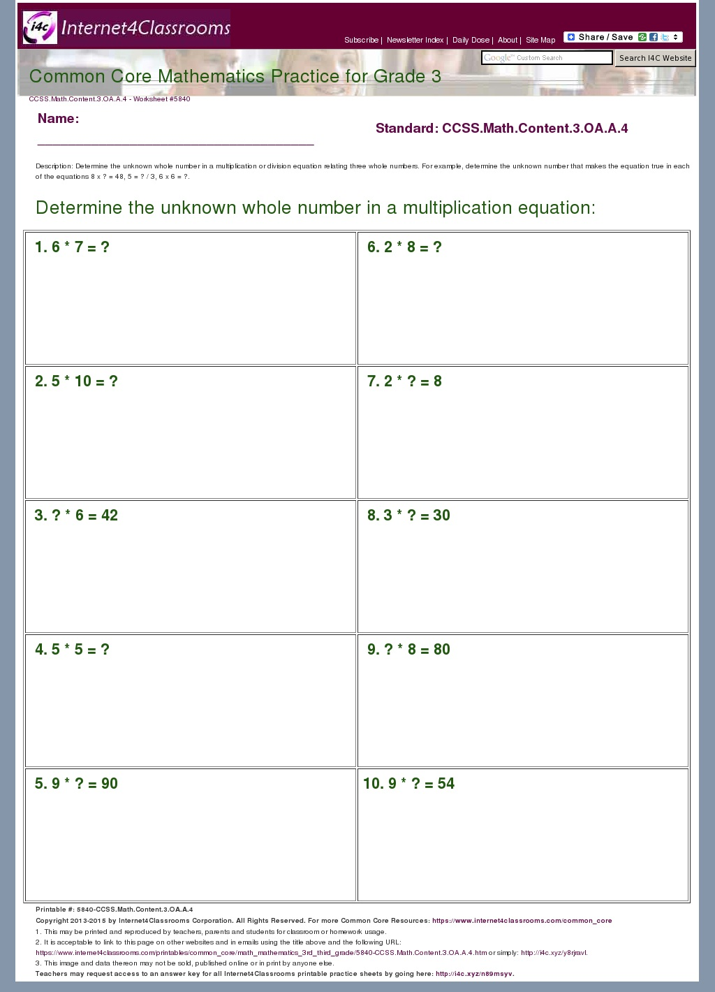 Grade 3 Math Worksheets Common Core Oa 4 Grade Best Free