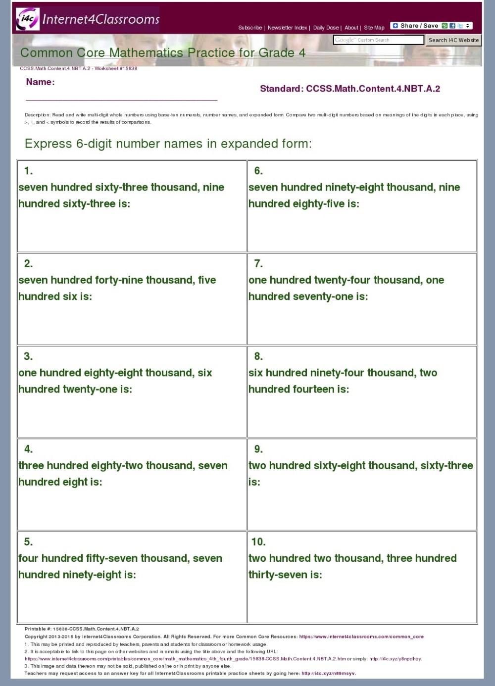 medium resolution of Description/Download - Worksheet #15838. CCSS.Math.Content.4.NBT.A.2