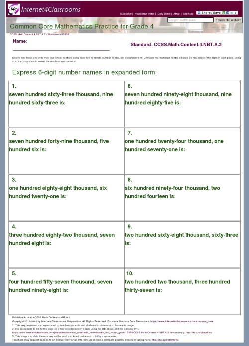 small resolution of Description/Download - Worksheet #15838. CCSS.Math.Content.4.NBT.A.2