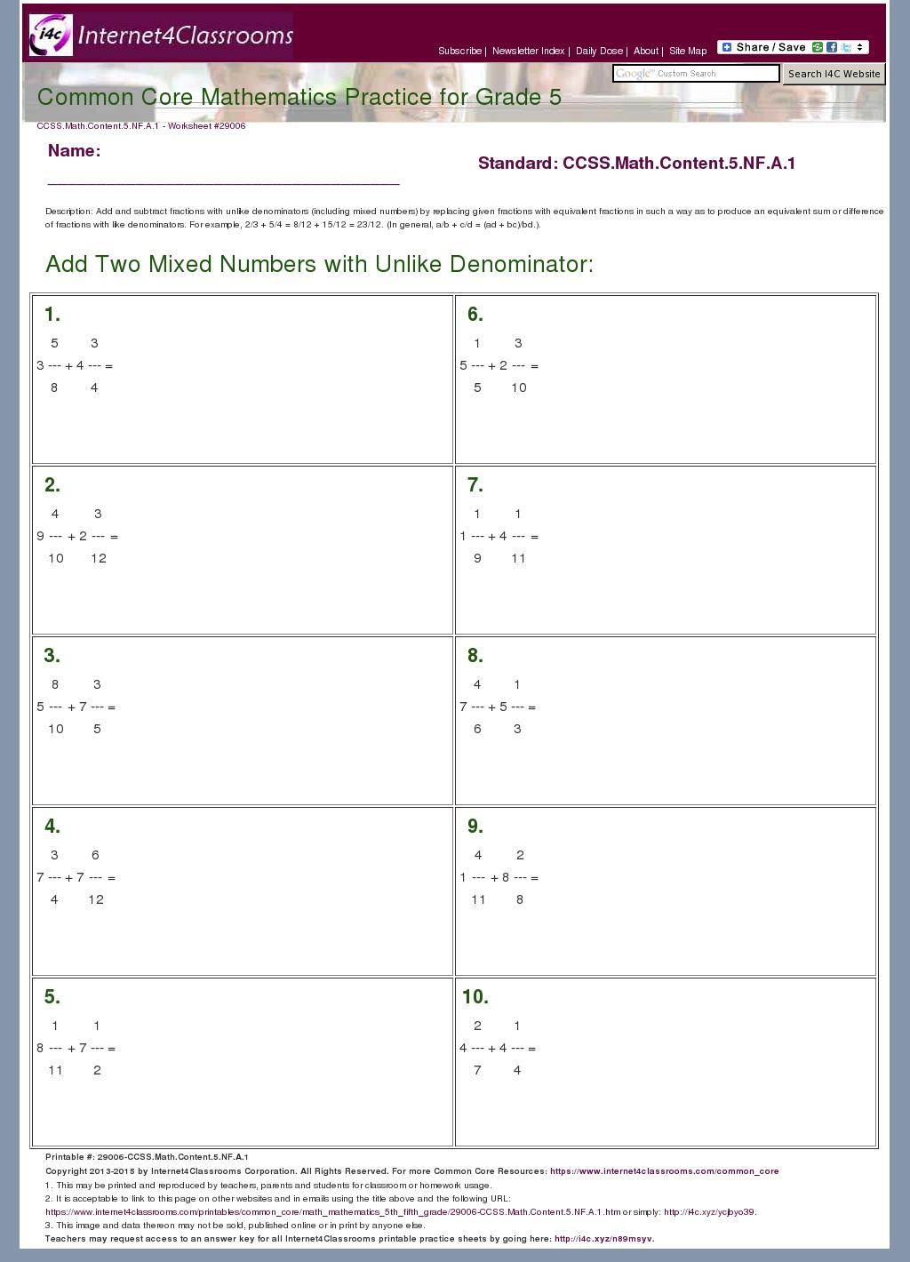 Common Core Fractions Worksheet